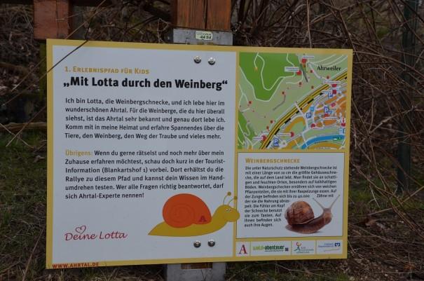 Der rotweinwanderweg als Erlebnispfad für Kinder - begleitet durch die Weinbergschnecke Lotta ©entdecker-greise.de