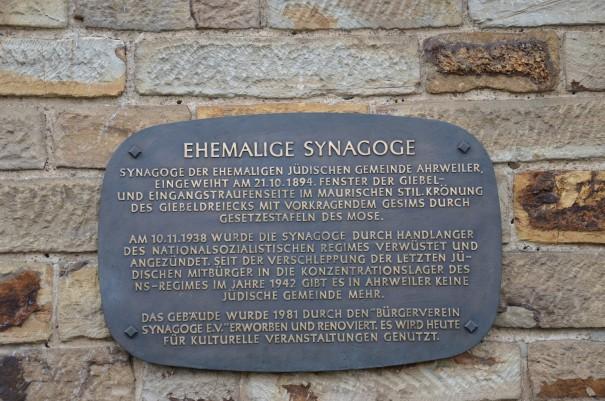 Inschrift der Synagoge Ahrweiler ©entdecker-greise.de