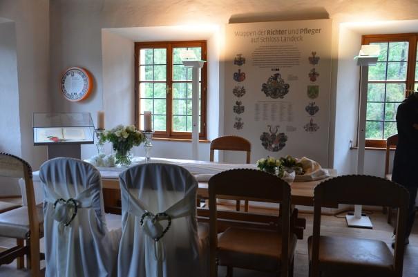 Der ehemalige Gerichtssaal auf Schloss Landeck wird heute für Trauungen bereitgestellt ©entdecker-greise.de