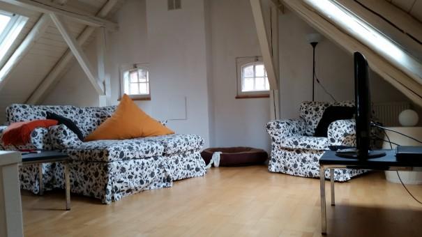 Den Abend im gemütliche Wohnzimmer unter dem Dachgiebel genießen! ©www.entdecker-greise.de