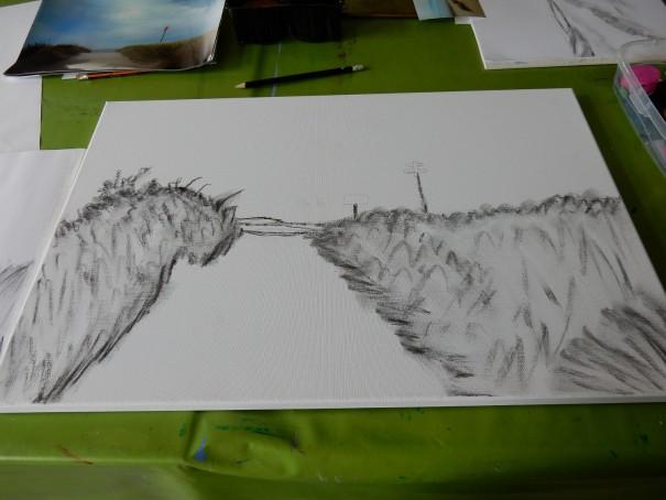 Viele Schritte auf dem Weg zum gewünschten Acrylbild. Marlies Eggers leitet hier auf Langeoog ihre Schüler dabei an und führt sie in die hohe Kunst der Acrylmalerei ein. ©entdecker-grei